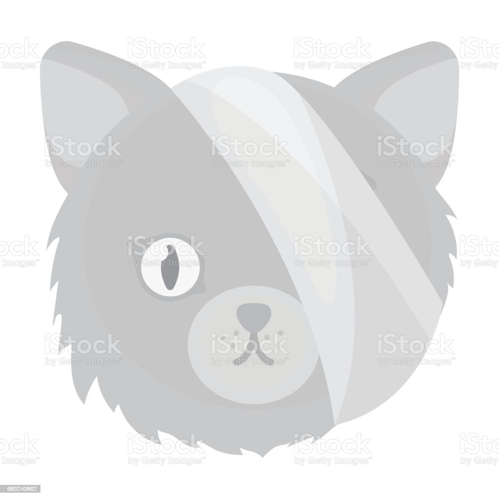 Sick cat with bandage on a head icon in monochrome style isolated on white background. Veterinary clinic symbol stock vector illustration. royalty-free sick cat with bandage on a head icon in monochrome style isolated on white background veterinary clinic symbol stock vector illustration 건강 진단에 대한 스톡 벡터 아트 및 기타 이미지