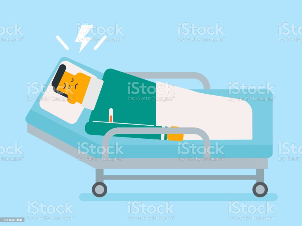 Sick Patient With Termometer In Hospital Bed Cartoon Clip Art, Vector  Images U0026 Illustrations
