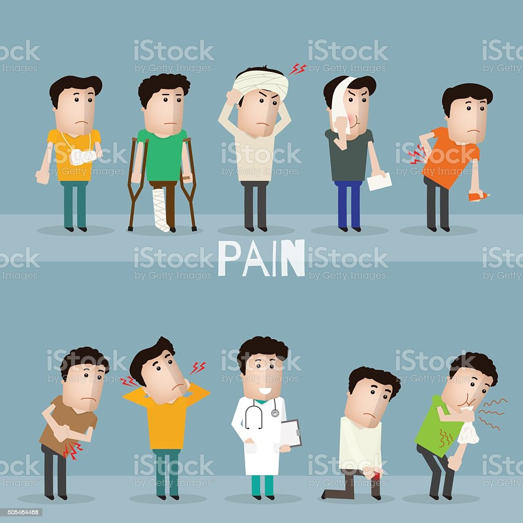 Sick characters set of people with pain and diseases vector art illustration