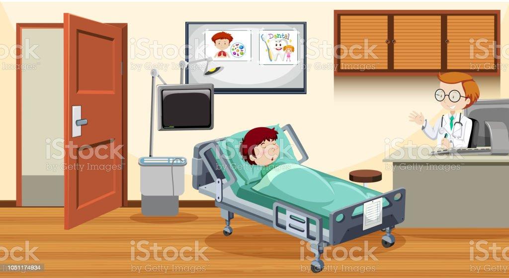 Krankes Kind Im Bett Im Krankenhaus Stock Vektor Art Und Mehr Bilder
