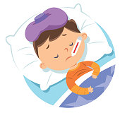 Vector sick child in bed