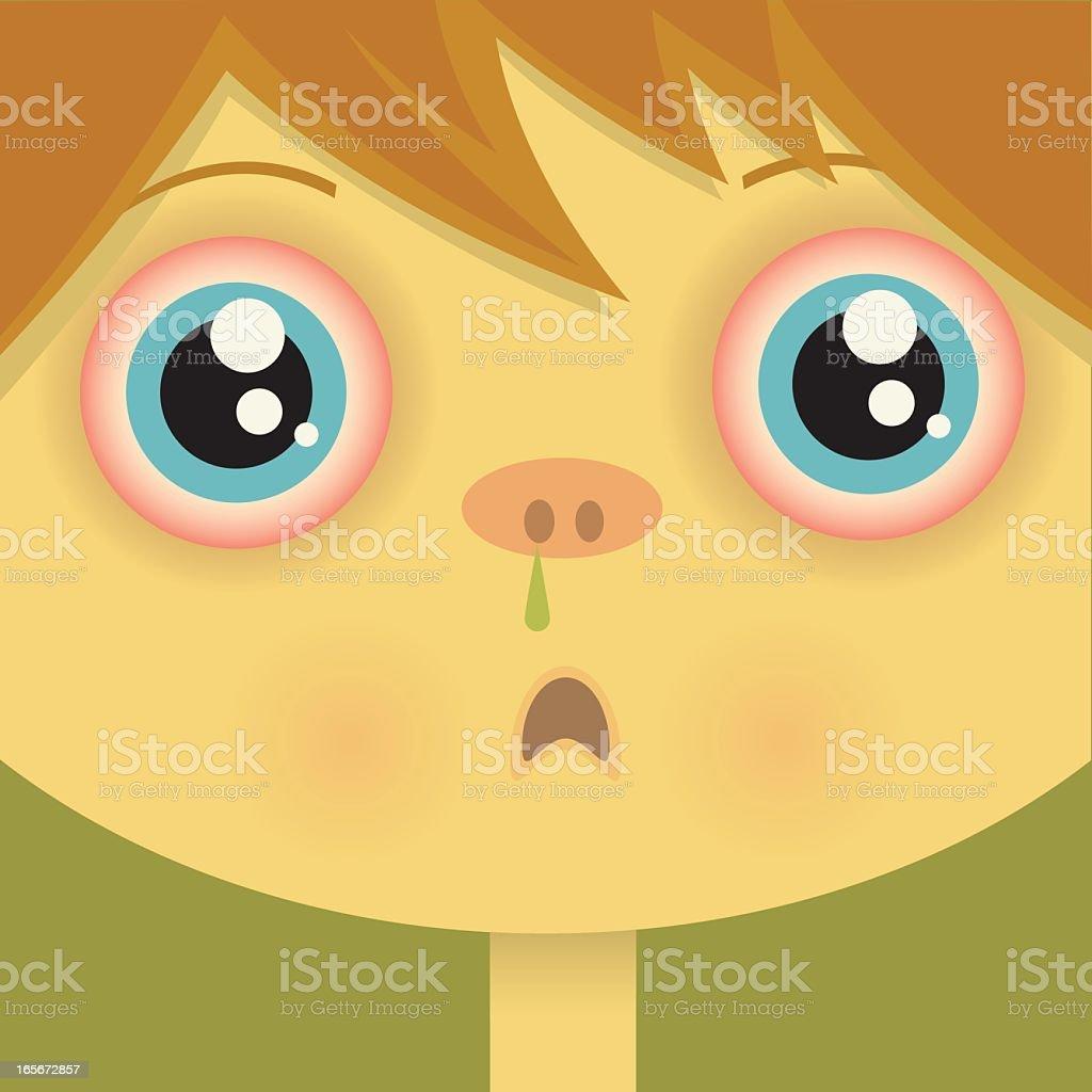 Sick Child vector art illustration