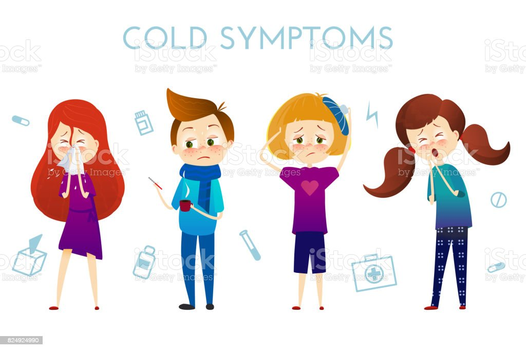Sick child with fever, illness . Boy and girl with sneeze, high temperature, sore throat, heat, cough, headache, Vector illustration cartoon style. Sickness child with disease. flu cold symptoms vector art illustration