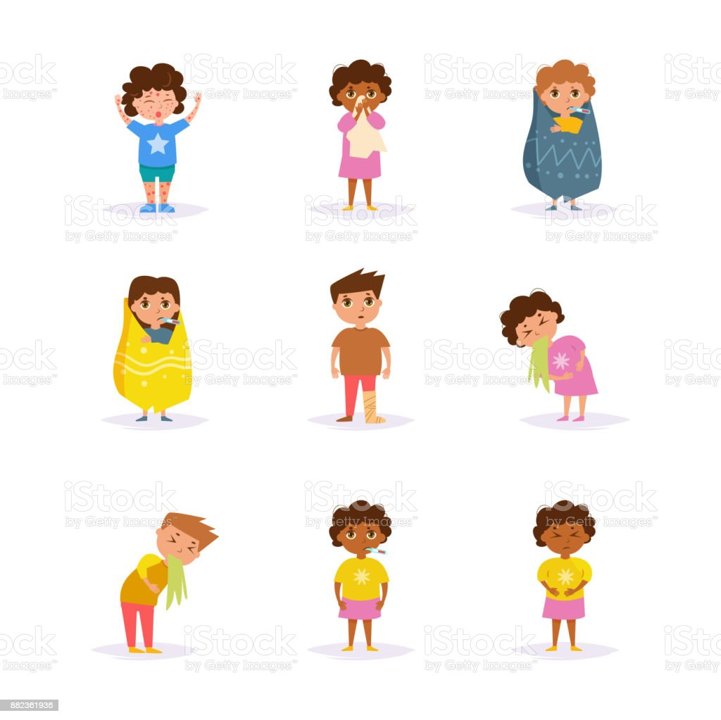 Sick children. Vector. Cartoon Sick children. Vector. Cartoon. Isolated art on white background Flat Bed - Furniture stock vector