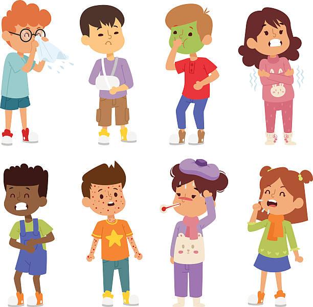 bildbanksillustrationer, clip art samt tecknat material och ikoner med sick children vector set. - sjukdom