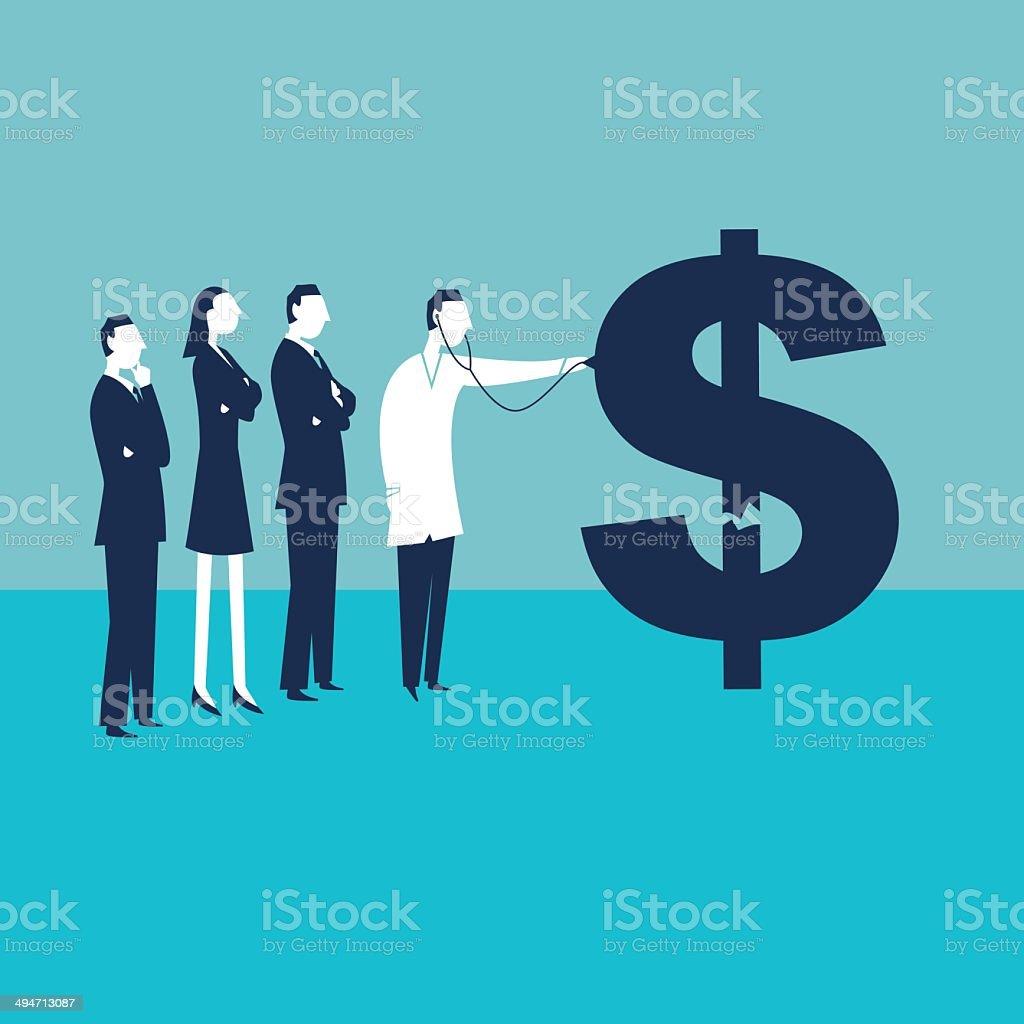 Sick Dollar vector art illustration