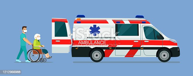 466456685 istock photo A sick elderly woman in a mask is placed in an ambulance. Vector flat style illustration. 1212966988