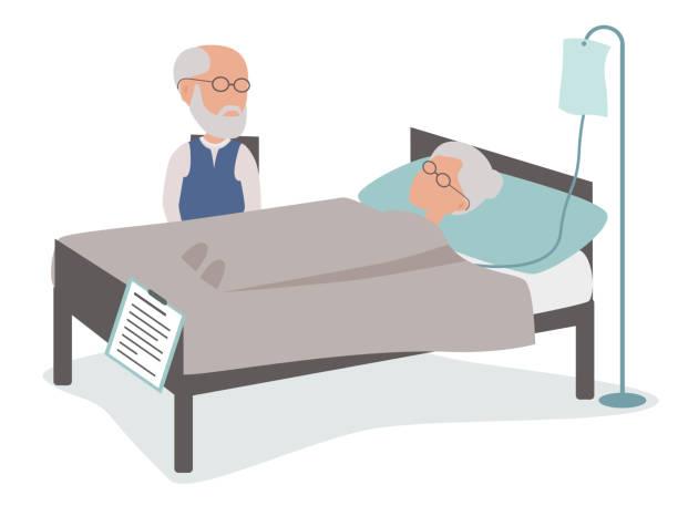Kranke ältere Frau im Krankenhausbett mit Ehemann – Vektorgrafik
