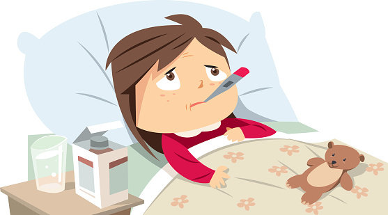 Sick Girl In Bed Stock Illustration - Download Image Now