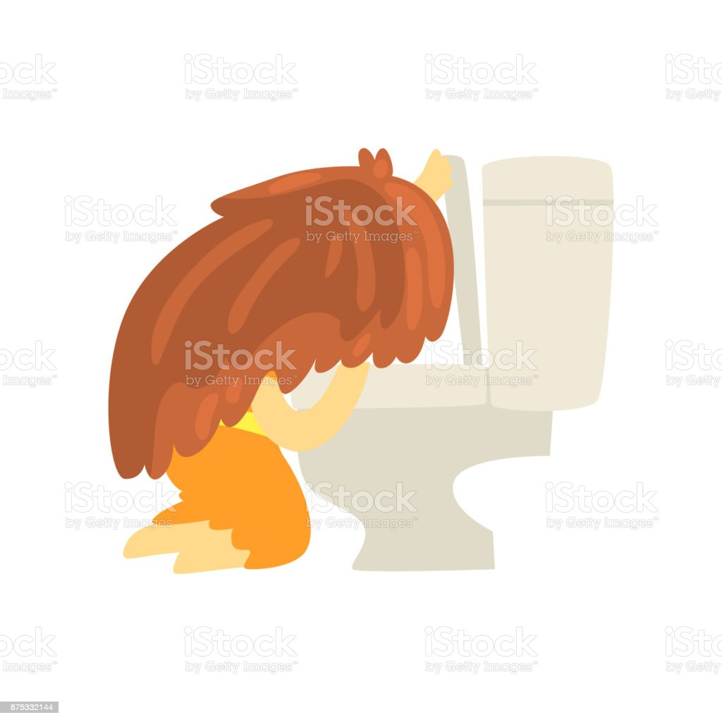 Sick girl vomiting into the toilet bowl, unwell teen needing medical help cartoon character vector illustration vector art illustration