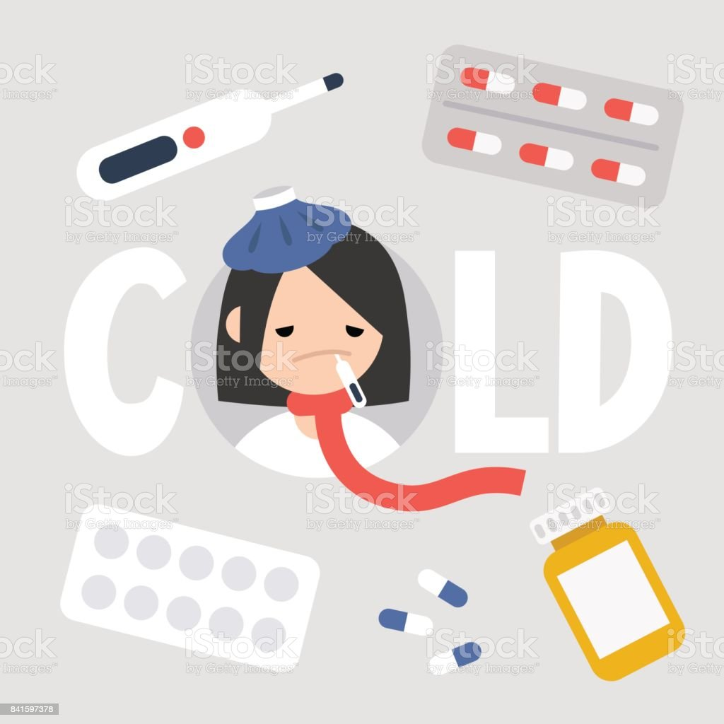 Sick girl with the symptoms of a cold and flu. Health care concept. Vector flat illustrated sign vector art illustration