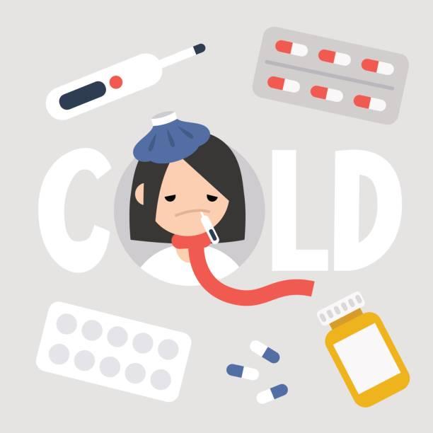 stockillustraties, clipart, cartoons en iconen met ziek meisje met de symptomen van een verkoudheid en griep. health care concept. vector platte geïllustreerde teken - doordrukstrip