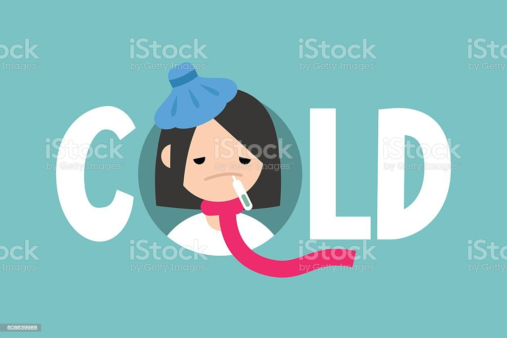 Sick girl with the symptoms of a cold and flu vector art illustration