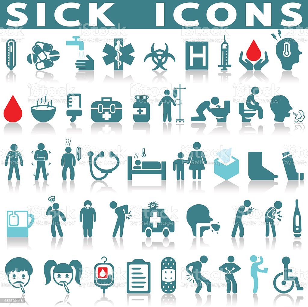 sick icon set vector art illustration