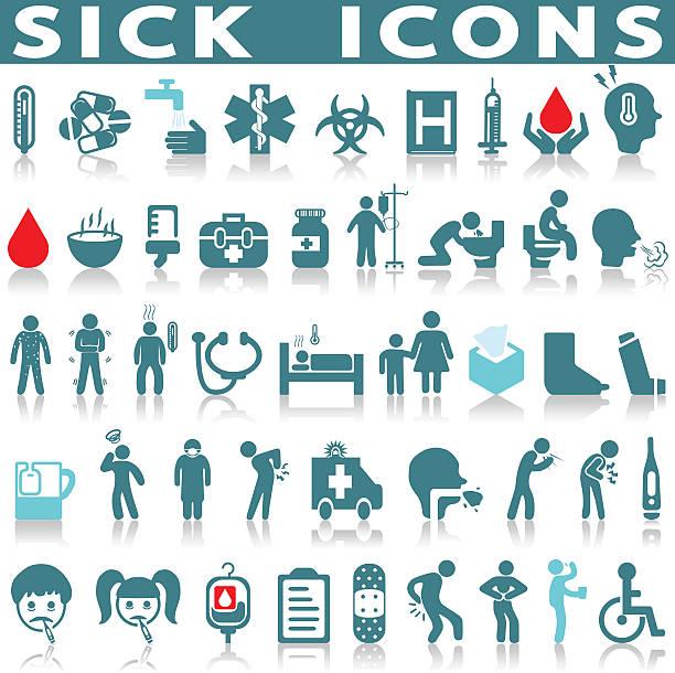 sick icon set vector art illustration