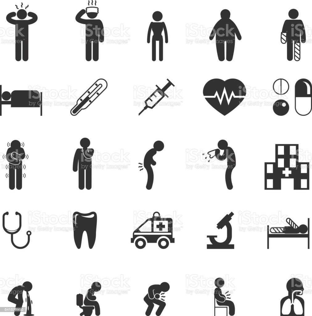 Sick icons. People vector pictograms vector art illustration