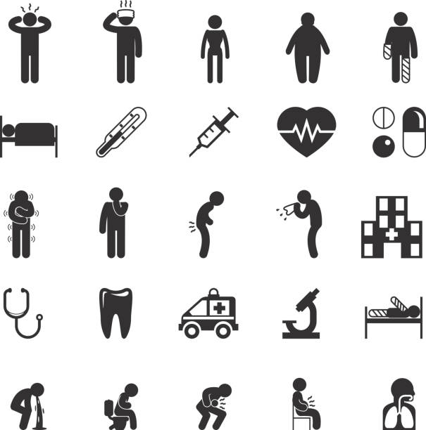 Sick icons. People vector pictograms Sick icons. Sick people vector pictograms. Sick set icon, ill and sick sign, sick man icon illustration medical condition stock illustrations