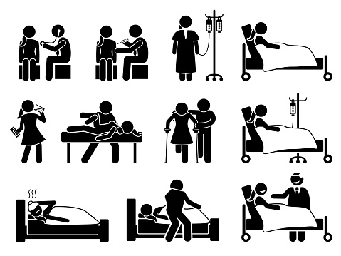 Sick, illness and injury treatment, medication, and rehabilitation for woman at hospital and home.