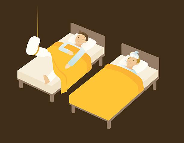 sick in bed vector art illustration
