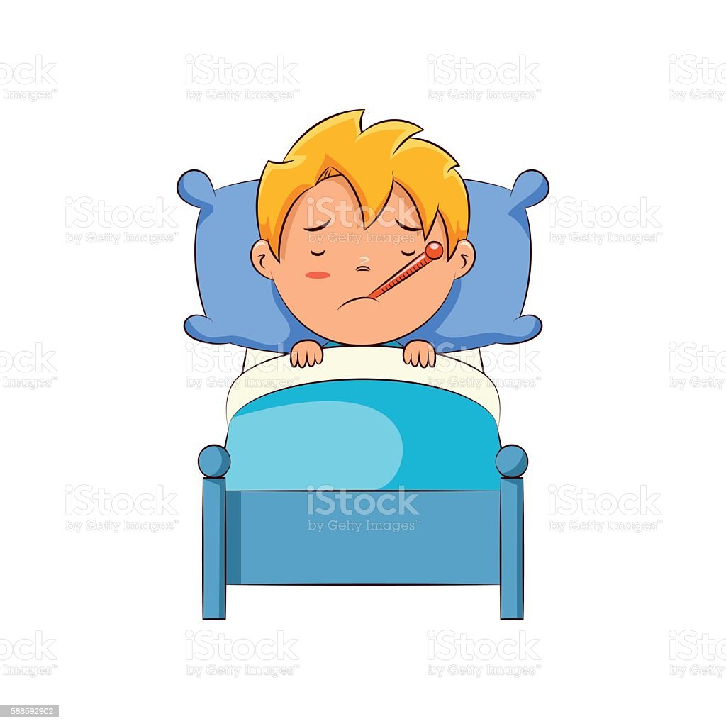 royalty free cartoon of a sick person in bed clip art vector images rh istockphoto com sick clip art free sink clipart