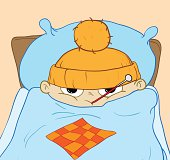 Sick boy lying in bed with fever. Vector illustration.