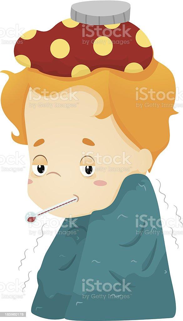 Sick Kid vector art illustration