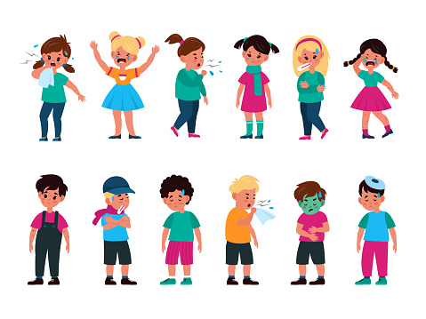 Sick kids set. Girls and boys with different disease, flu, cold and cough, rash and vomit, poisoning and chickenpox, unhealthy children crying cartoon vector isolated character collection