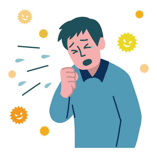 stockillustraties, clipart, cartoons en iconen met zieke mens niest hoest - tears corona