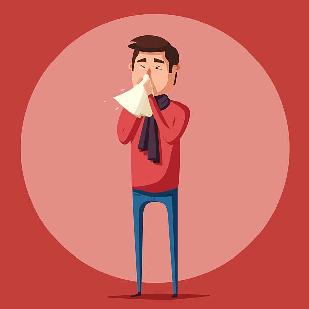 bildbanksillustrationer, clip art samt tecknat material och ikoner med sick man. unhappy character. vector cartoon illustration - sneezing
