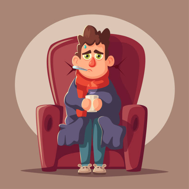 Sick man. Unhappy character. Vector cartoon illustration Sick man. Unhappy character. Vector cartoon illustration. Man with cup of tea in hand. Season allergy. Person in scarf with thermometer in his mouth. Winter flu pneumonia stock illustrations