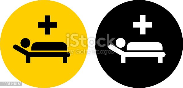 istock Sick Man with Medical Cross Icon 1225146182