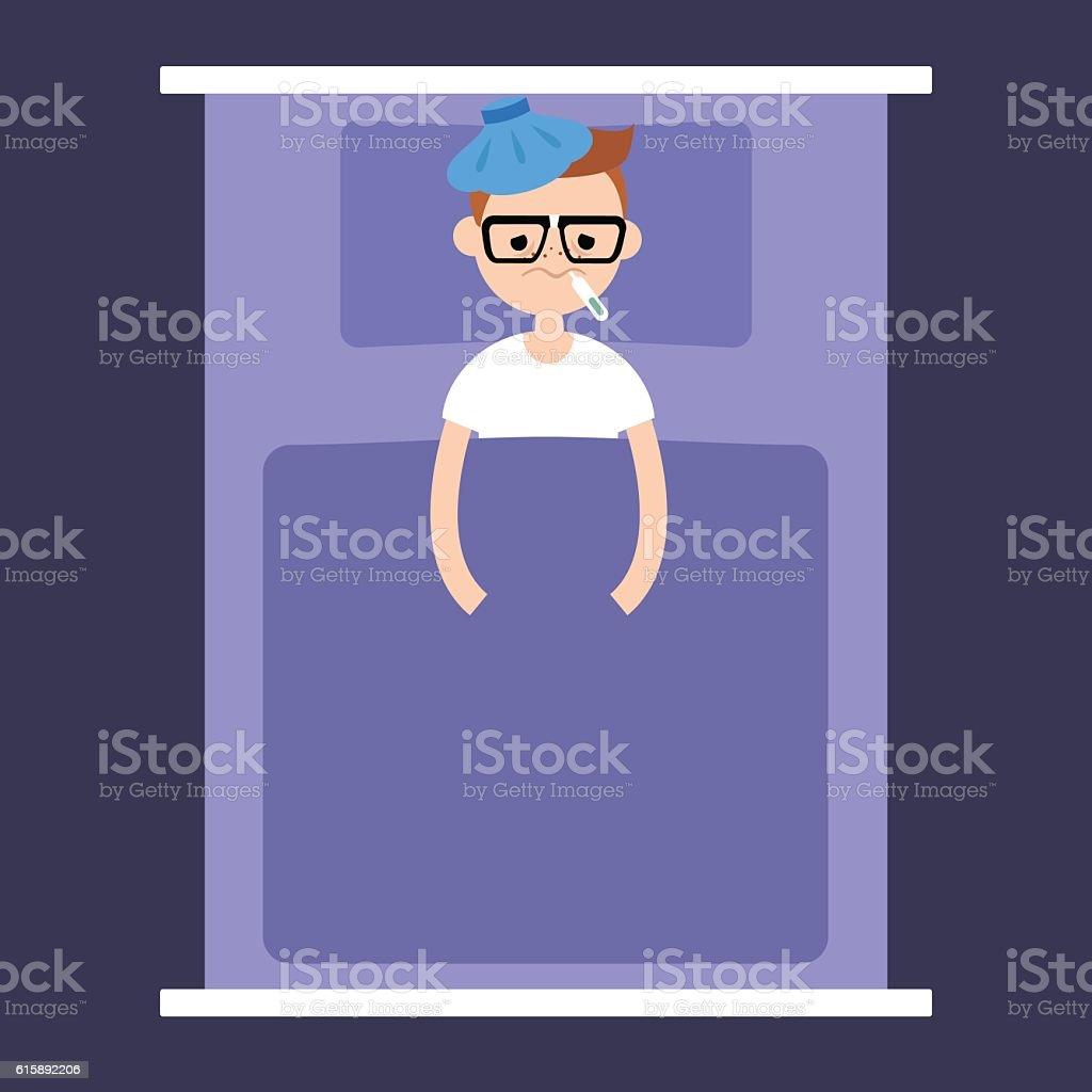 Sick nerd lying under the blanket vector art illustration