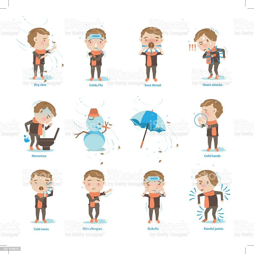 Sick of winter vector art illustration