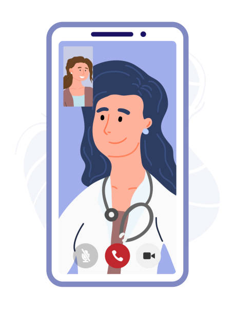 sick patient talking by video call with a doctor. online medicine in the phone. vr consultation. online diagnosis, virtual chat with doctor. digital healthcare. design banner template. vector cartoon - telemedicine stock illustrations