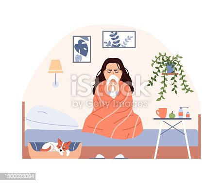 istock Sick person on bed with blanket treatment. Flat common cold flu virus concept. Sneezing woman blow nose. Character has influenza infection cough runny nose fever. Medical cartoon vector illustration. 1300033094