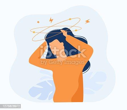 istock Sick person suffering from vertigo 1275828972