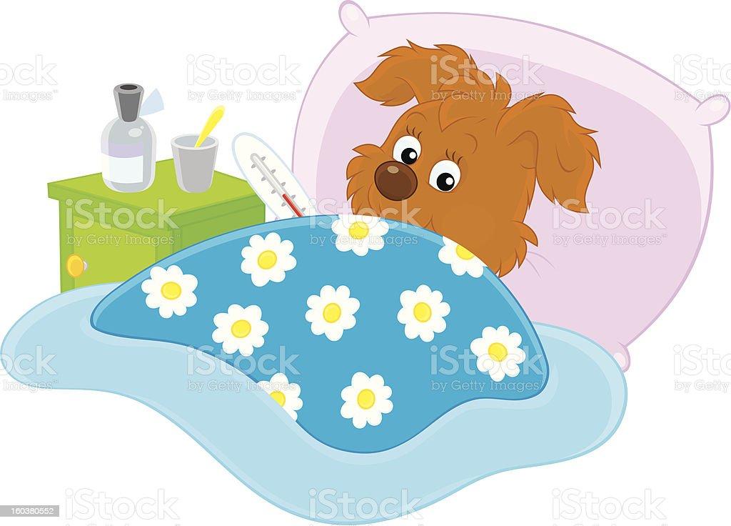 Sick puppy royalty-free stock vector art