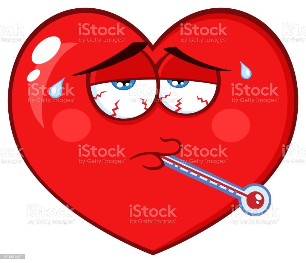 Sick Red Heart Cartoon Emoji Face Character With Tired