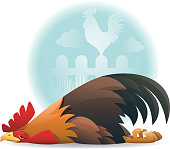 vector character of sick rooster lying down,…