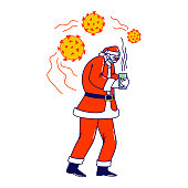 Sick Santa Claus Character Wearing Red Costume, Hat and Medical Mask Suffering of Coronavirus Disease, Drinking Hot Tea. Christmas Personage Sickness, Covid 19 Epidemic. Linear Vector Illustration