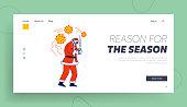 Sick Santa Landing Page Template. Claus Character Wearing Medical Mask Suffering of Coronavirus Disease, Drinking Hot Tea. Christmas Personage Sickness, Covid 19 Epidemic. Linear Vector Illustration