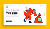 Sick Santa Suffering of Radiculitis Landing Page Template. Claus Character with Gift Bag Wearing Red Costume and Hat Bent Over due to Sickness of Loins Back and Spine. Linear Vector Illustration