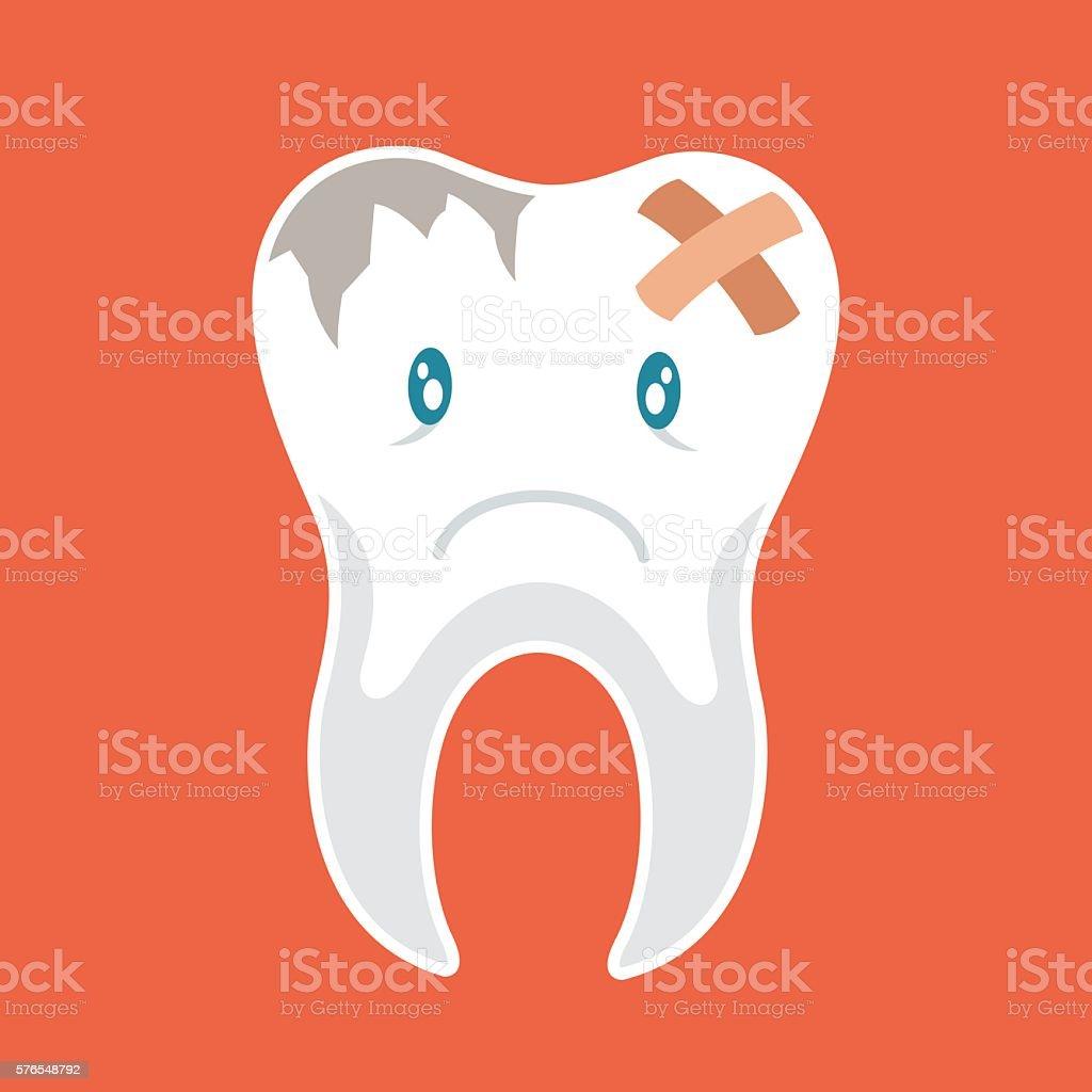 Sick tooth character. Vector flat cartoon illustration vector art illustration