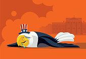 sick USA eagle lying down