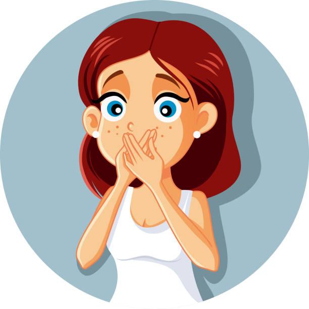 illustrazioni stock, clip art, cartoni animati e icone di tendenza di sick woman covering mouth vector cartoon - donna si nasconde