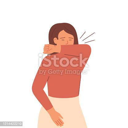 Sick woman sneezes and coughs covering her mouth with her elbow. Girl uses protective measures against spread viral infectious disease.Coronavirus epidemic concept