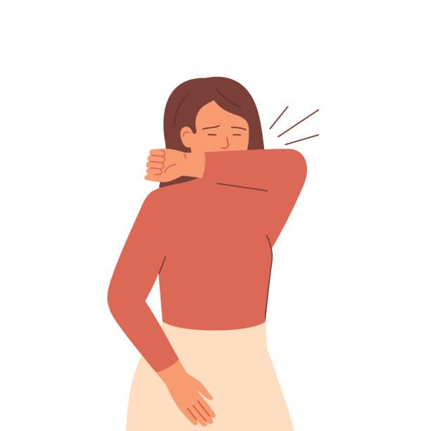 stockillustraties, clipart, cartoons en iconen met de zieke vrouw niest en hoest die haar mond met haar elleboog behandelt. - medische aandoening