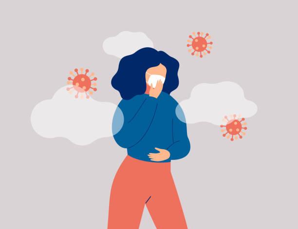 bildbanksillustrationer, clip art samt tecknat material och ikoner med sjuka kvinna omger mikrober bär ansiktsmask. - sneezing