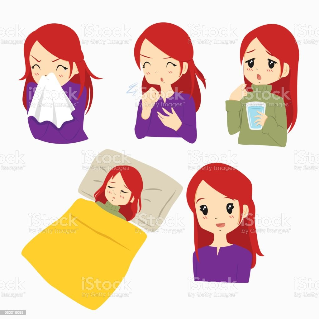 royalty free woman sick in bed clip art vector images rh istockphoto com sick clipart smiley sick clipart png
