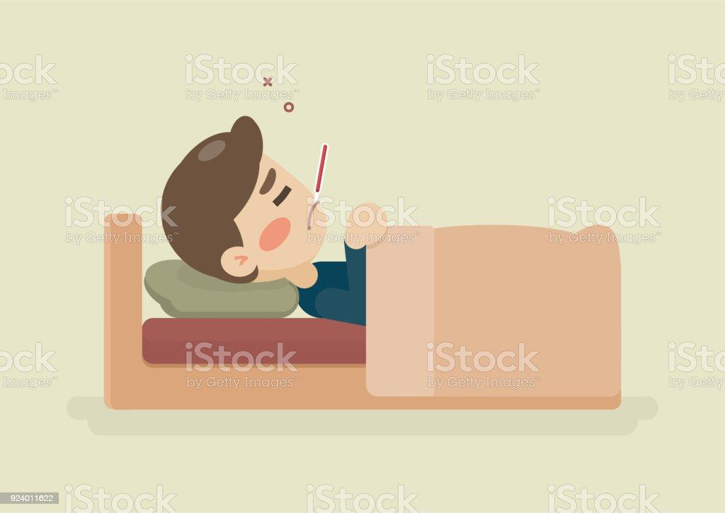 Sjuk Ung Man Ligger I Sängen Med En Termometer I Munnen Att Ha En Kall Vektor Tecknad Illustration vektorgrafik och fler bilder på Design